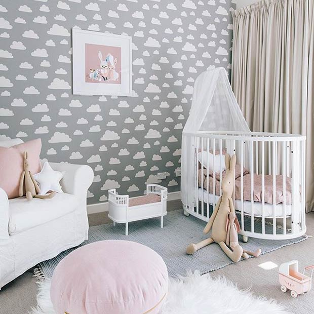 Cute Grey And Pink Nursery Idea For A Baby