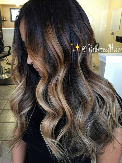 Blonde and Caramel Highlights on Dark Hair