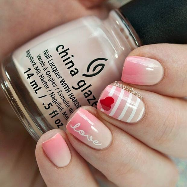 Ombre Valentine's Day Nail Art Design