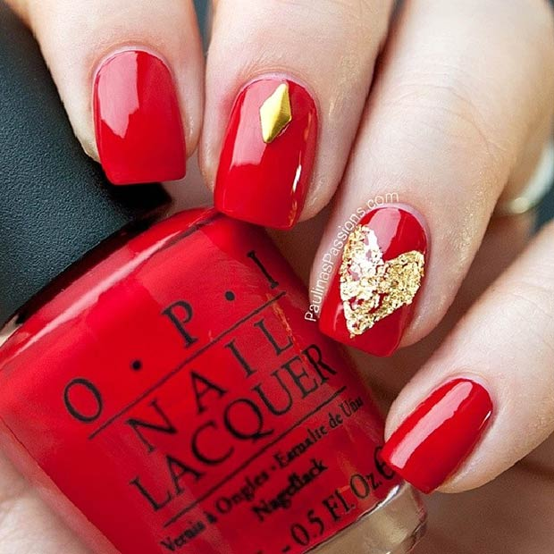 Easy Red and Gold Heart Nail Design for Valentine's