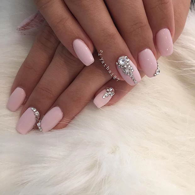 Light Pink Coffin Nails with Rhinestones for Prom - 23 Elegant Nail Art Designs For Prom 2017 StayGlam