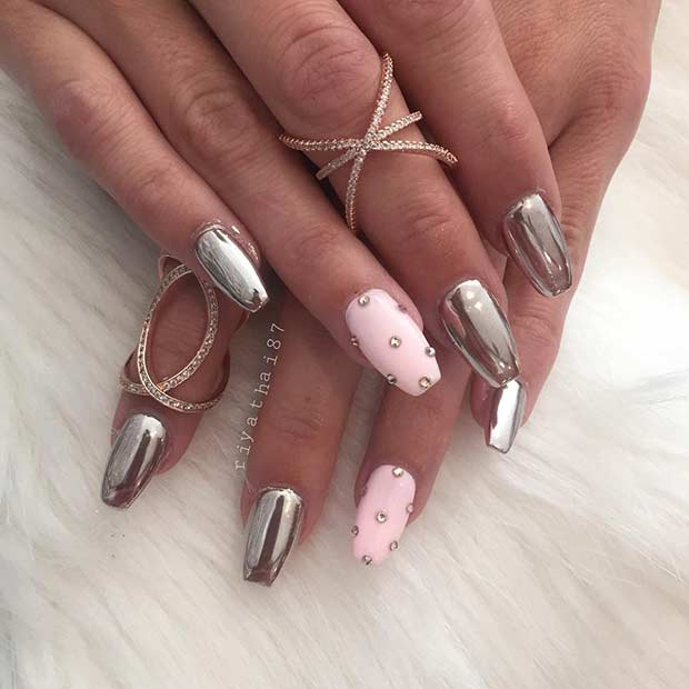 Baby Pink and Silver Metallic Nail Art Design