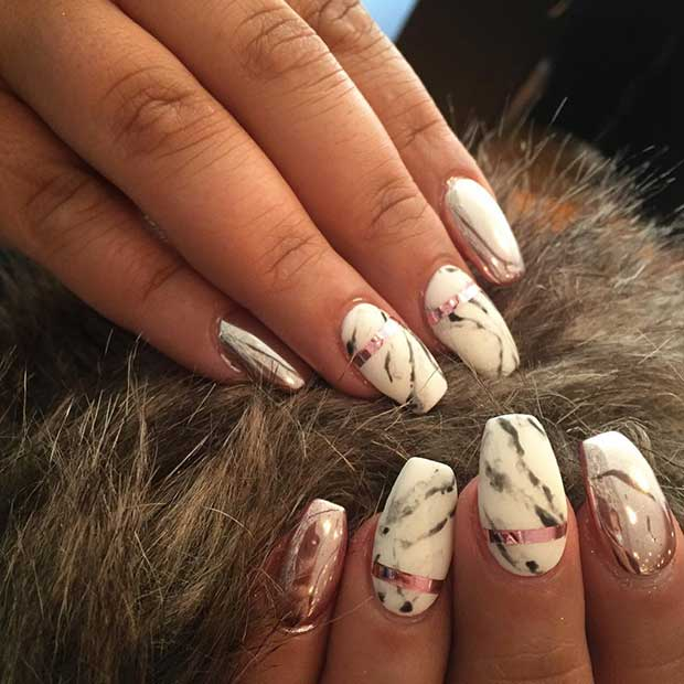 Marble Coffin Nails with Metallic Details