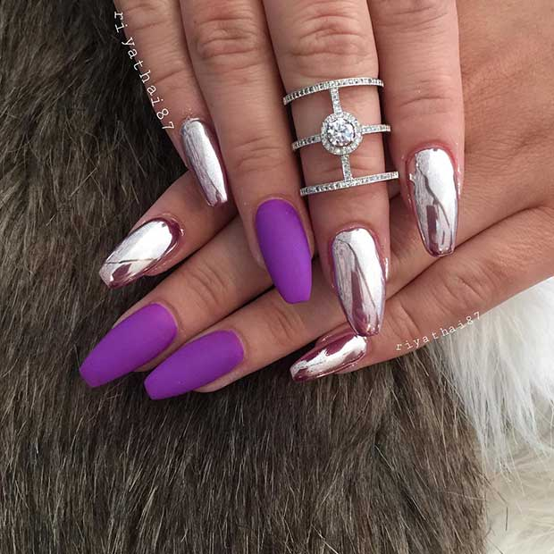 Matte Purple and Metallic Nail Art Design