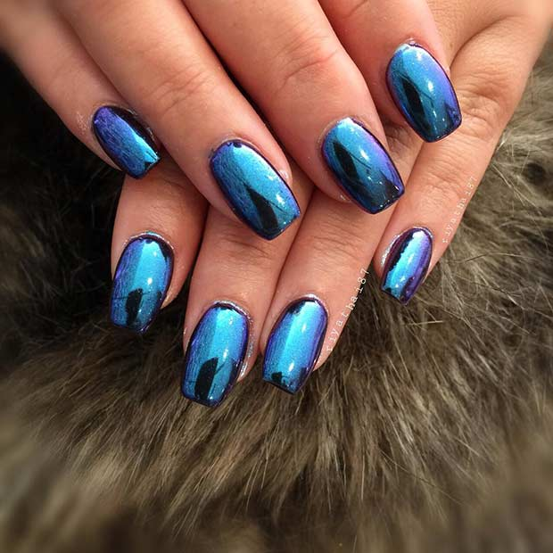 Simple Metallic Blue Nail Art Design