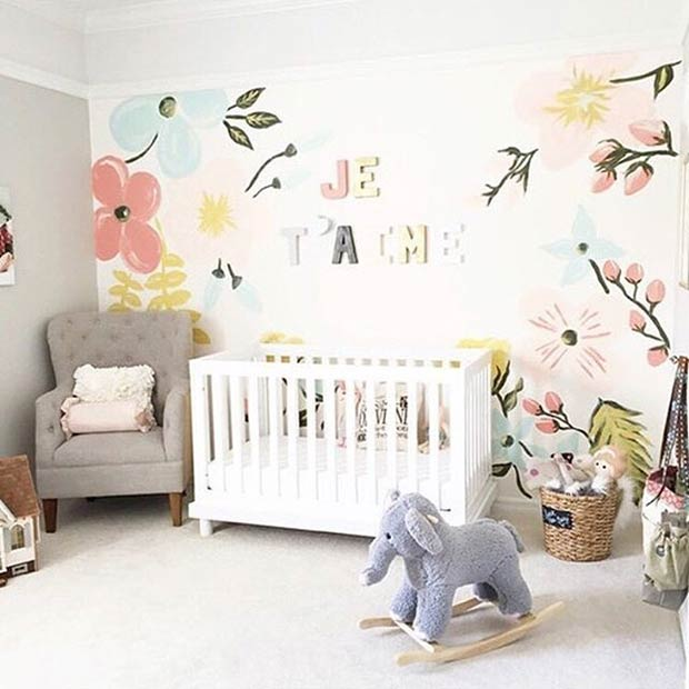Floral Wall Nursery Idea for Girls