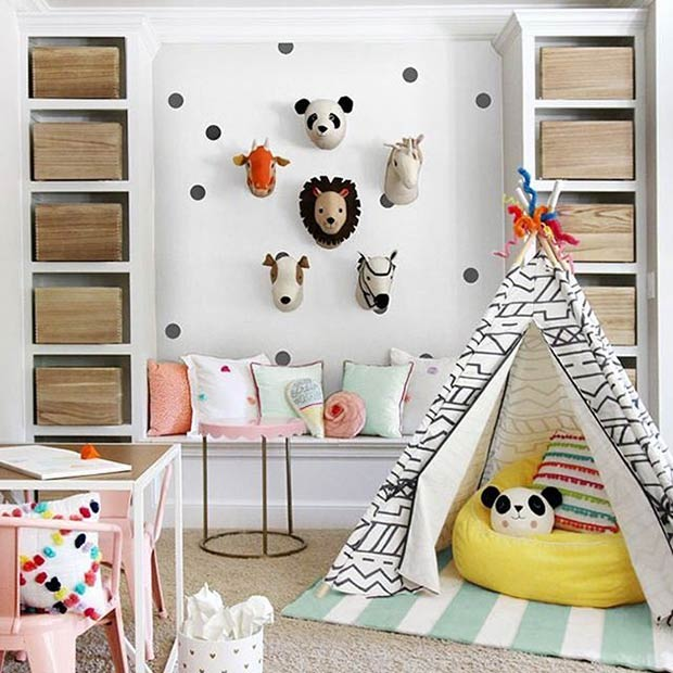 Colorful Animal Playroom Idea for Boys and Girls
