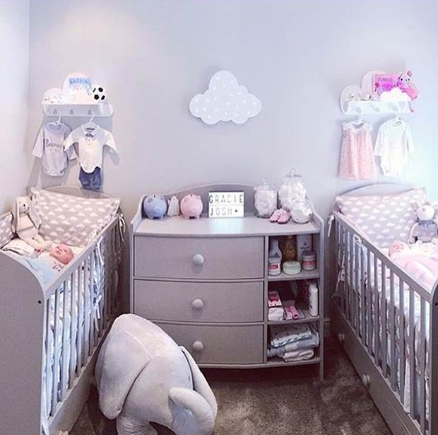 Grey Nursery Idea for Twins