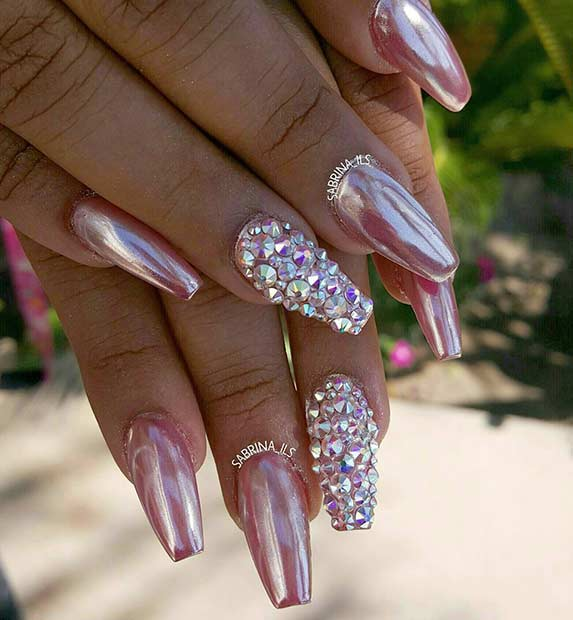 Pink Metallic Nails with Rhinestones