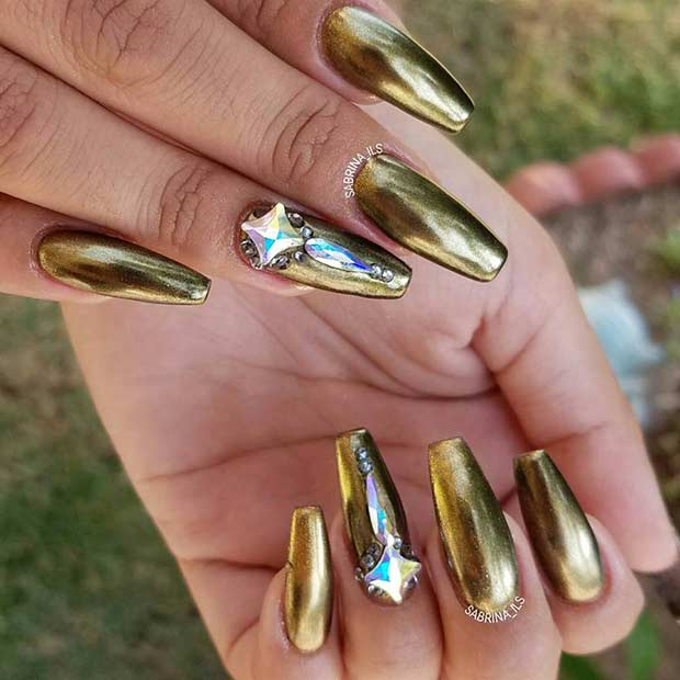 Metallic Dark Gold Coffin Nails