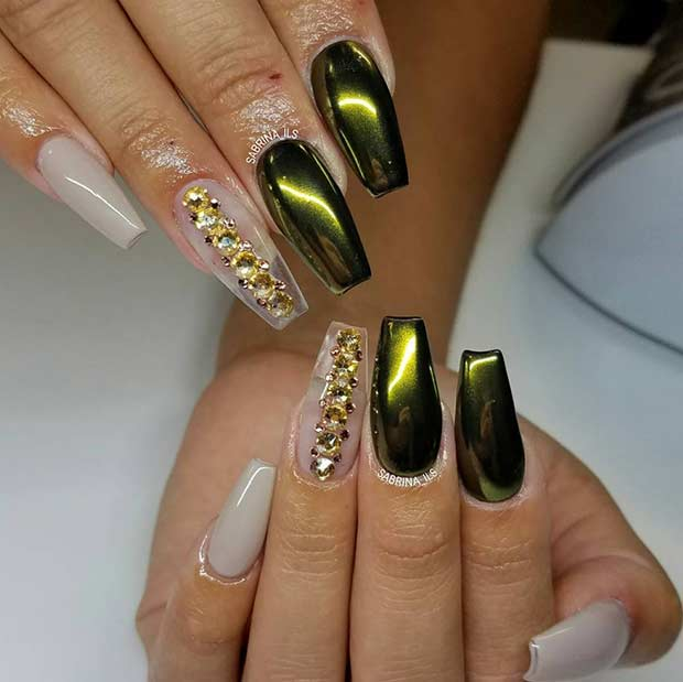 21 trendy metallic nail designs to copy right now page 2 of 2 green gold metallic nail art design prinsesfo Choice Image
