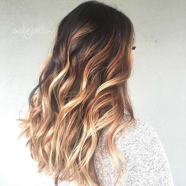 Chunky Blonde Highlights for Dark Brunette Hair