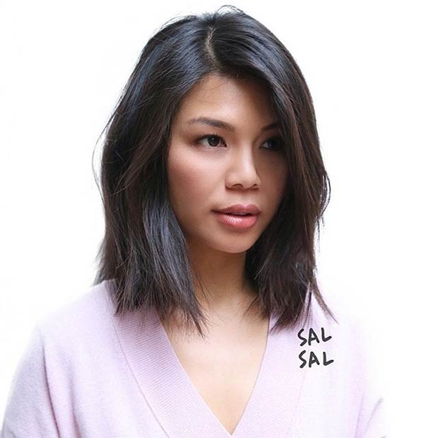 Cute Blunt Long Bob Haircut Idea