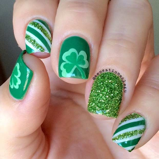 19 glam st patricks day nail designs from instagram stayglam green stripes and clovers nail design prinsesfo Gallery