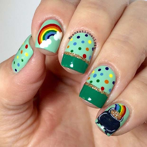 Colorful Rainbow and Pot of Gold St Patrick's Day Nails