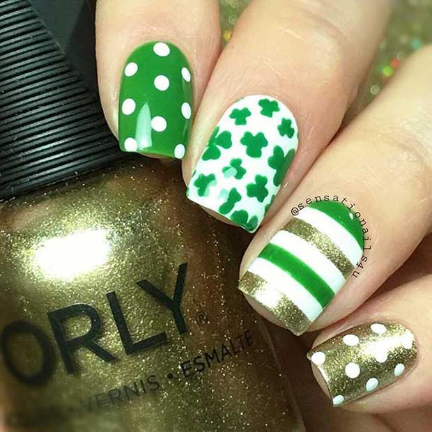 Green Gold and White St Patrick's Day Nails