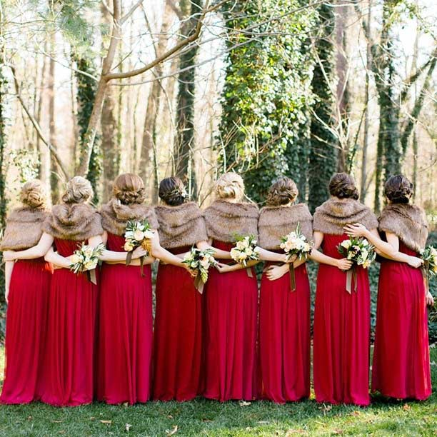 Red Bridesmaid Dresses and Fur Shawls