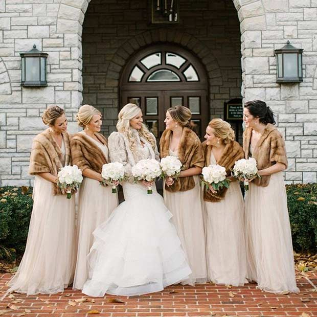 Nude Bridesmaid Dresses and Brown Fur Shawls