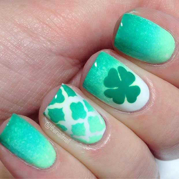 Green Ombre Nail Design for St Patrick's Day
