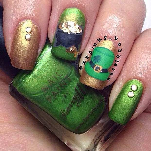 Pot Of Gold St. Patrick's Day Nail Design