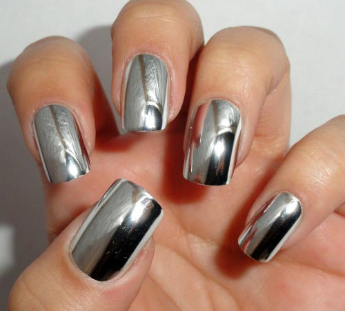 Silver Metallic Nail Art Design