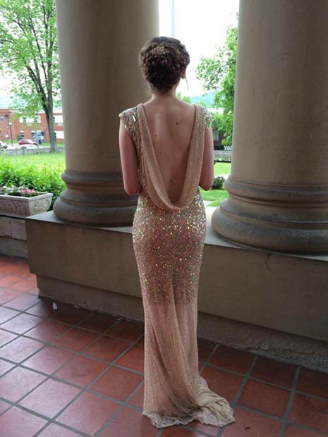 Vintage Sequin Backless Prom Dress