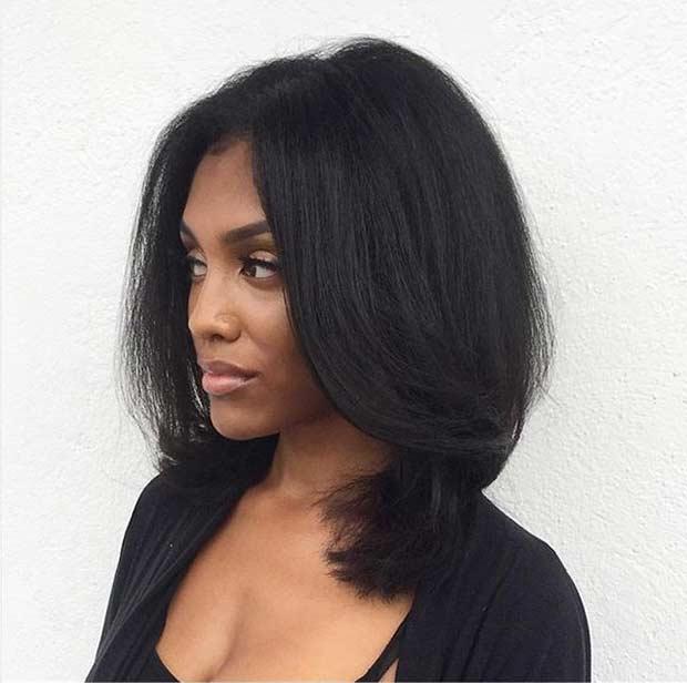 Lob Haircut Idea for Black Women
