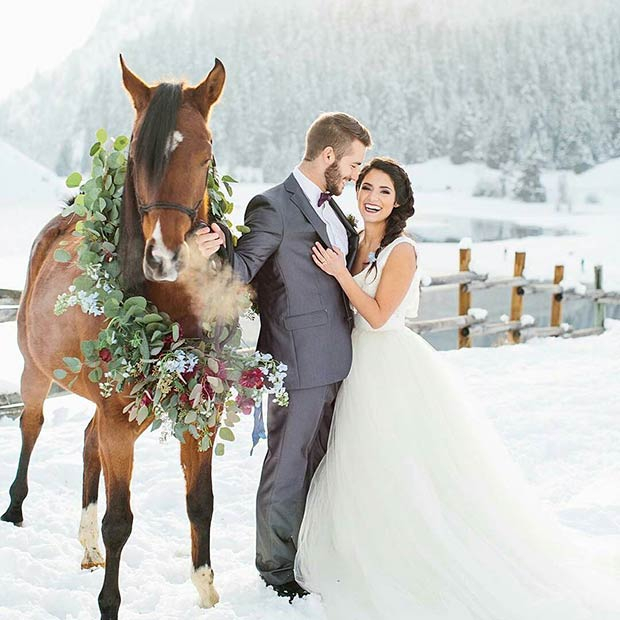 Winter Wedding Photography with a Horse