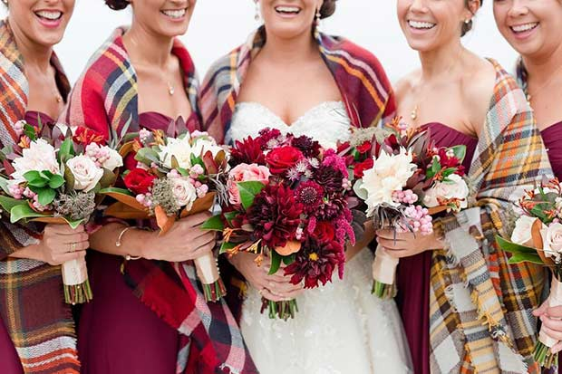 Winter Bridesmaids Plaid Scarves