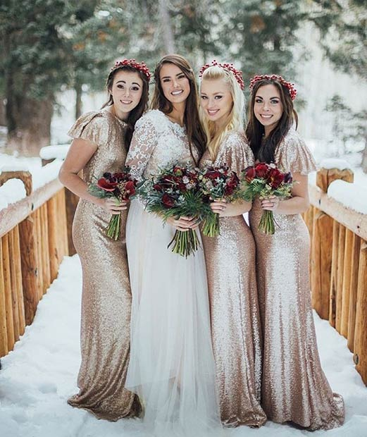 Gold Sequin Bridesmaid Dresses for a Winter Wedding