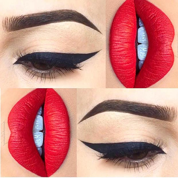 Classic Makeup Idea with Red Lips