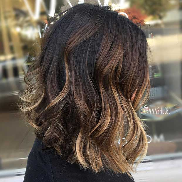Curly Brunette Bob with Caramel and Blonde Highlights