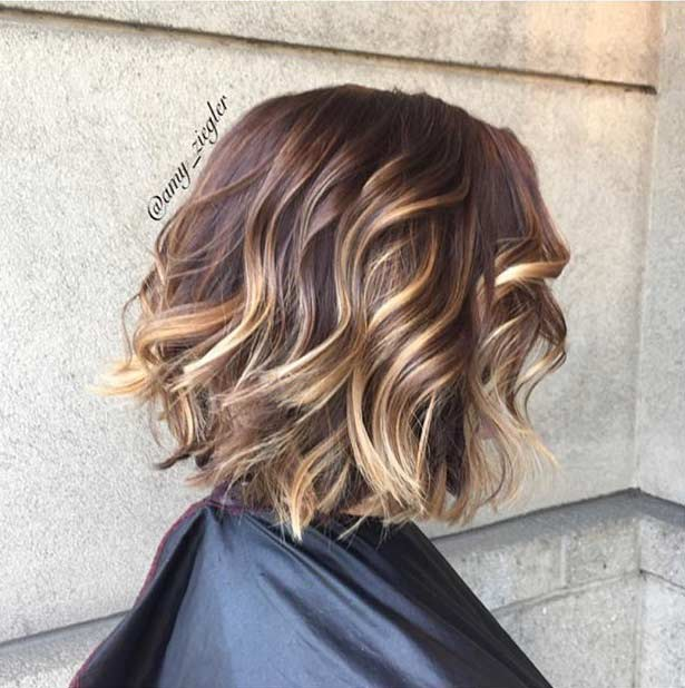 Chocolate Brown and Golden Blonde Highlights on Bob Haircut