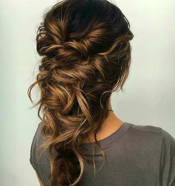 Twisted Messy Prom Hairstyle For Long Hair