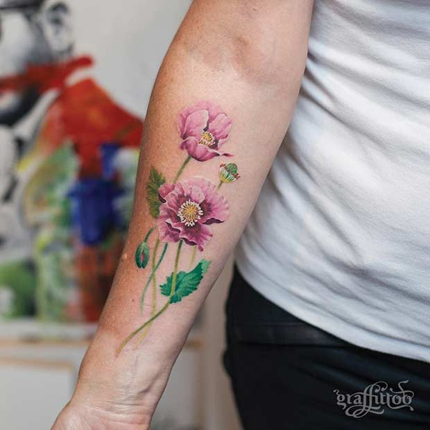 Pink Poppy Flower Watercolor Arm Tattoo Idea