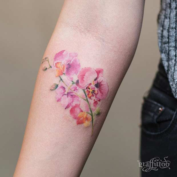27 breathtaking watercolor flower tattoos stayglam for Forearm flower tattoos