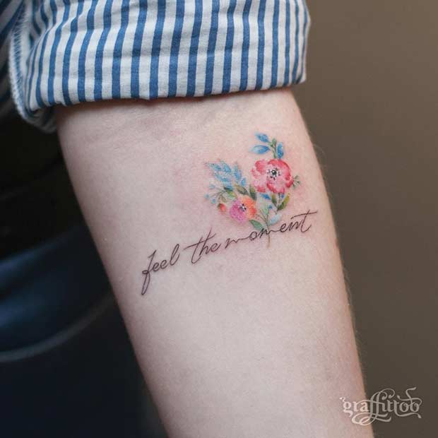 f4a1268e7 27 Breathtaking Watercolor Flower Tattoos - crazyforus