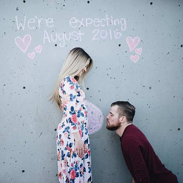 Super Cute Pregnancy Announcement on a Wall