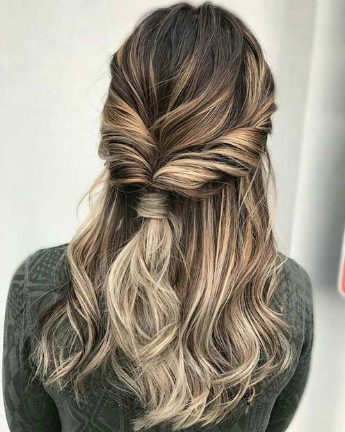 Twisted Half Up Half Down Hairstyle for Prom