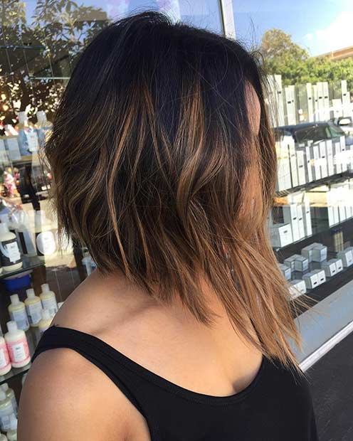 Angled Brunette Bob Haircut with Caramel Highlights