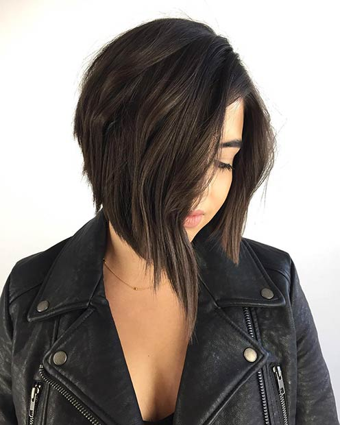 Straight Stacked Bob Haircut for Brunettes
