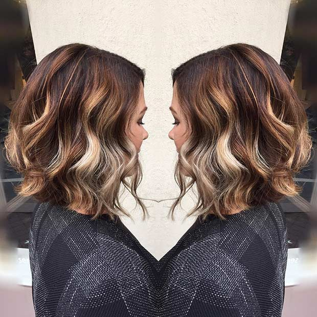 Curly Cinnamon and Beige Blonde Bob Haircut