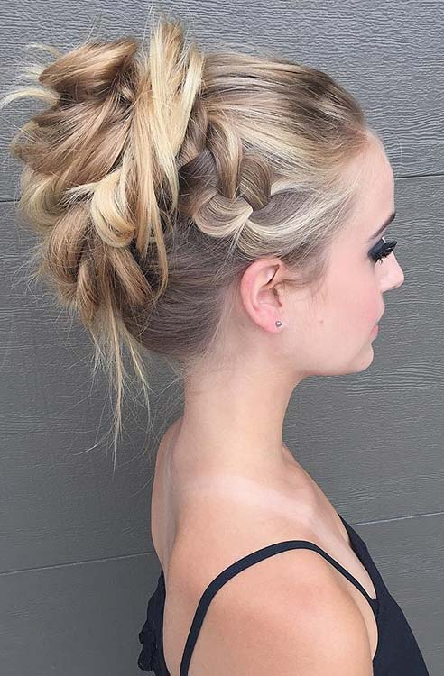 Messy Braided High Bun Updo for Prom