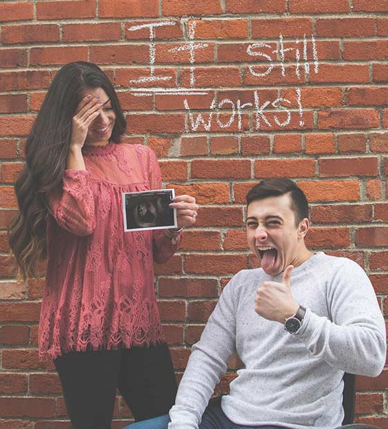 Funny It still works Pregnancy Announcement