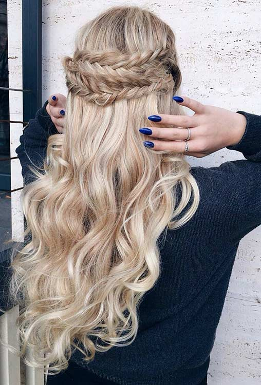Curly Fishtail Braided Half Up Half Down Hairstyle