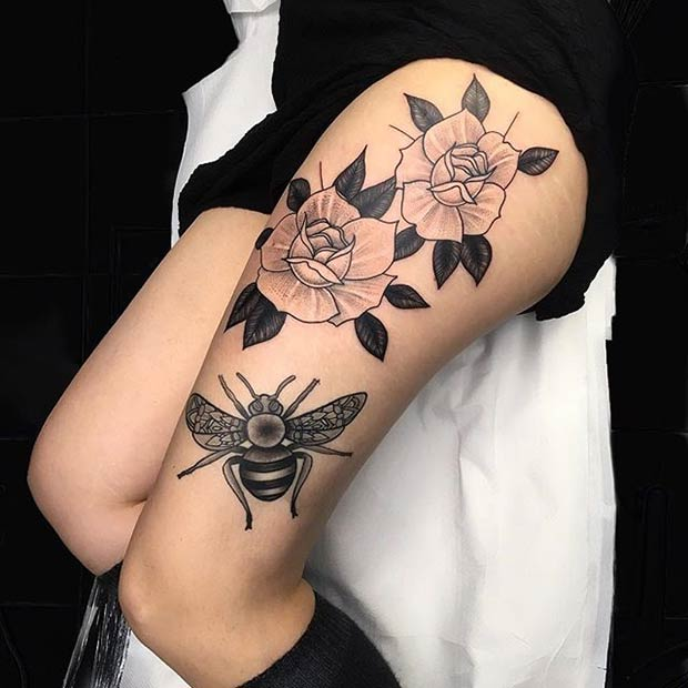 Bee and Flowers Thigh Tattoo Idea