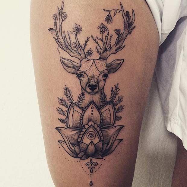Tattoo Woman Deer: 25 Badass Thigh Tattoo Ideas For Women