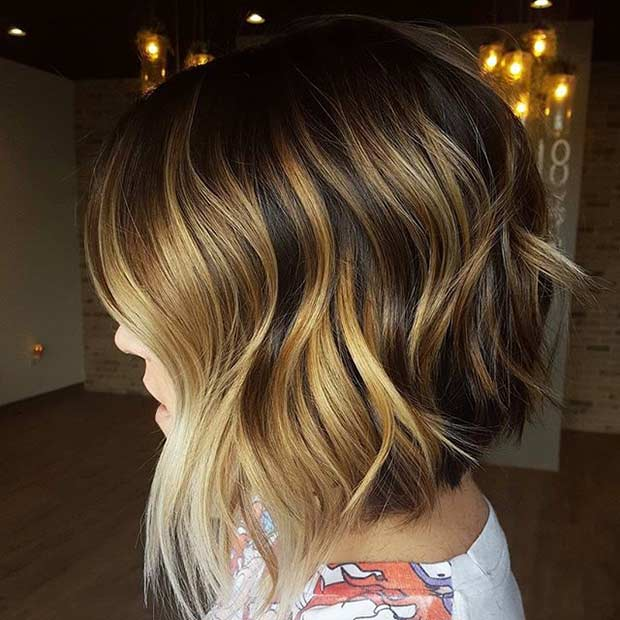 Choppy Brunette Bob with Honey Blonde Highlights