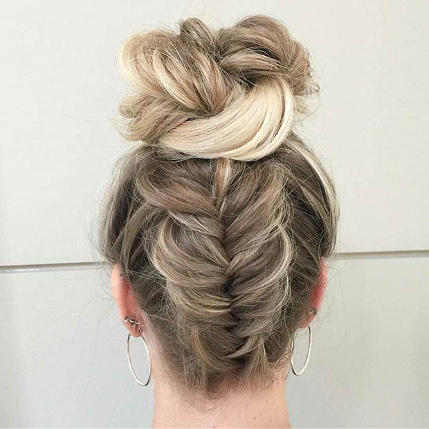 Upside Down Fishtail Braid to Bun