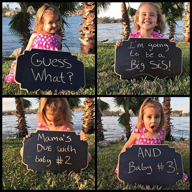 Twin Pregnancy Chalkboard Announcement with a Toddler